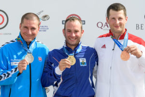 BAKU - JUNE 23: (L-R) Silver medalist Erik VARGA of Slovakia, Gold medalist Gian Marco BERTI of San Marino and Bronze medalist Piotr KOWALCZYK of Poland pose with their medals after the Trap Men Finals at the Baku Olympic Shooting Range during Day 2 of the ISSF World Cup Rifle/Pistol/Shotgun on June 23, 2016 in Baku, Azerbaijan. (Photo by Nicolo Zangirolami)